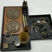 SMALL COLLECTION OF INTERESTING ITEMS INCL. STANHOPE CARVED ITEMS