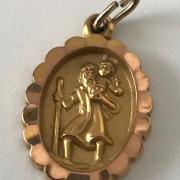TWO HM 9CT GOLD SMALL ST CHRISTOPHER PENDANTS