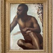 WILLIAM WISE 1847 -1889 OIL ON CANVAS LAID TO BOARD - AFRICAN TRIBESMAN - SIGNED & DATED 1869 28CM X 38CM - VERY GOOD ORIGINAL CONDITION