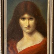 CIRCLE OF JEAN JAQUES HENNER 1829-1905 OIL ON BOARD - PORTRAIT OF WOMAN IN RED CLOAK - SIGNED UPPER RIGHT 20CM X 31CM - VERY GOOD ORIGINAL CONDITION
