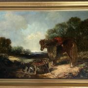 ATTRIBUTED TO WILLIAM JOSEPH SHAYER JR 1811-1892 OIL ON CANVAS - HORSE & DOG 46CM X 66 - HAS BEEN RE LINED