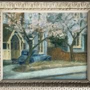 CIRCLE OF VANESSA BELL 1879 -1961 OIL ON CANVAS - BLOSSOM LINED STREET,40CM X 50CM - ORIGINAL CONDITION WITH PAINT SPREAD BUT STABLE