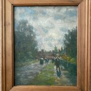 ATTRIBUTED TO FRANK MCKELVEY 1895-1974 OIL ON BOARD ''FIGURES TAKING A STROLL'' 20CM X 26CM - REMAINS OF A SIGNATURE - VERY GOOD CONDITION