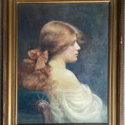 CATHERINE B GULLEY 1908- 1962 WATERCOLOUR - PRE-RAPHAELITE LADY - SIGNED & DATED - 45CM  X 60CM - VERY GOOD CONDITION