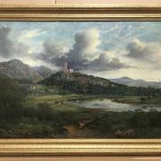 MACNEIL MCLEAY 1802-1878 OIL ON CANVAS - WALLACE MONUMENT NEAR STIRLING - SIGNED - 51CM X 76CM - EXCELLENT OVERALL CONDITION