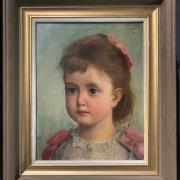 THEODORE REH 1845- 1918 OIL ON PANEL - PORTRAIT OF YOUNG GIRL'' SIGNED & DATED - 21CM X 26CM