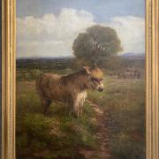 EDMUND CALDWELL 1852-1930 OIL ON CANVAS - DONKEYS IN A FIELD- MONOGRAM & DATE 1895 - 76CM  X 61CM - EXCELLENT CONDITION - BEEN RE-LINED