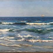 ALFRED JOSEPH WARNE BROWN 1855- 1915 UNFRAMED OIL ON PANEL - CRASHING WAVES, CORNWALL - 18CM X 31CM - SIGNED EXCELLENT CONDITION