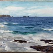 ALFRED JOSEPH WARNE BROWN 1855- 1915 UNFRAMED OIL ON PANEL - WAVES CRASHING AGAINST THE ROCKS - SIGNED -18CM X 31CM - EXCELLENT CONDITION