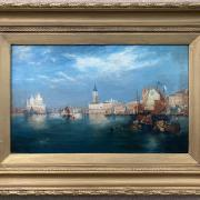 H WALKER - EARLY 20C OIL ON CANVAS - VIEW OF SAN GRIGIO MAGGIORE VENICE - SIGNED & DATED 1904 -28CM  X 44CM - VERY GOOD CONDITION