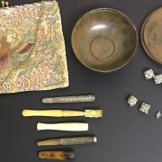MICRO MOSAIC ITEMS, CHEROOT HOLDER, ART DECO HANDBAG & BAKELITE BOX ETC