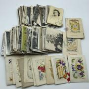 SMALL COLLECTION OF EARLY POSTCARDS INCL. SOME SILK