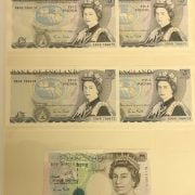 FIVE EARLY 5 POUND BANK NOTES