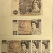 FIVE EARLY 10 POUND BANKNOTES