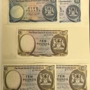 TWO EARLY SCOTTISH BANKNOTES & 3 10 POUND BANKNOTES