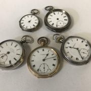 FOUR SILVER POCKET WATCHES & 1 OTHER