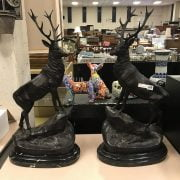PAIR LARGE BRONZE STAGS ON MARBLE BASE