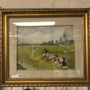 FRAMED OIL ON BOARD IMPRESSIONIST FARM WORKERS IN A FIELD - SIGNED