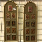 PAIR OF PLAQUES WITH PAINTED MINIATURES