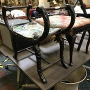 CARVED FOOTSTOOL & 1 OTHER