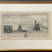 FRAMED ETCHING OF SOUTH WEST VIEW OF ST ALBANS ABBEY IN COUNTY OF HERTFORD