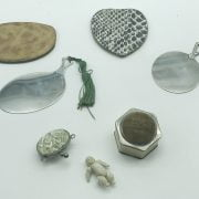 GROUP OF INTERESTING ITEMS INCL. HAND MIRRORS, UNUSUAL MINIATURE DOLL & COSTUME JEWELLERY