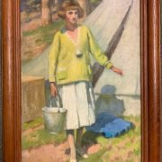 LAURA KNIGHT PAINTING - EDWARDIAN LADY FETCHING WATER BY A BELL TENT
