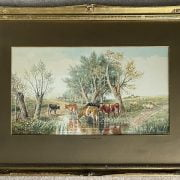 ATTRIBUTED TO THOMAS SIDNEY COOPER 1803-1902 PAIR OF WATERCOLOURS - CATTLE & SHEEP - SIGNED & DATED 25C M X 45CM - GOOD ORIGINAL CONDITION