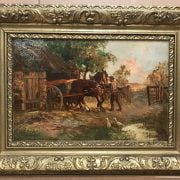 JOHN FALCONER SLATER 1857-1937 OIL ON CANVAS OF HORSE & CART - SIGNED - 29CM X 45CM - VERY GOOD CONDITION
