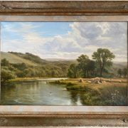 HENRY EAST 1890 -1920 OIL ON CANVAS - VIEW OF THE THAMES AT HARTSWOOD - SIGNED 40CM X 60CM, VERY GOOD ORIGINAL CONDITION