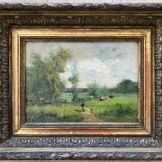 C LORIN 19C OIL ON CANVAS - SUMMER LANDSCAPE WITH WOMAN & COWS - SIGNED 25CM X 33CM - GOOD ORIGINAL CONDITION