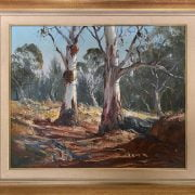 TERRY GLEESON 1934 - 1976 OIL ON BOARD -DRY CREEK BED FLINDERS RANGES - SIGNED & GALLERY LABELS 45CM X 55CM - VERY GOOD ORIGINAL CONDITION