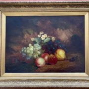 CHARLES THOAMS BALE 1866 -1875 OIL ON CANVAS - STILL LIFE PEACHES,PLUMS, PEARS & GRAPES - SIGNED 46CM  X 61CM - HAS BEEN RE-LINED , GOOD CONDITION
