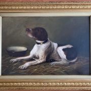 19C ENGLISH SCHOOL OIL ON CANVAS - SPANIEL TYPE DOG SIGNED MABEL GOURLEY 1889 41CM X 61CM - HAS BEEN RELINED, GOOD CONDITION