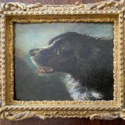 ATTRIBUTED TO EDWIN LANDSEER 1802-1873 OIL ON BOARD - PORTRAIT OF DOG - MONOGRAMMED - 15CM  X 19CM - GOOD CONDITION COMMENSURATE WITH AGE