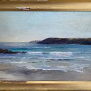 ALFRED JOSEPH WARNE BROWNE C1855- 1915  OIL ON PANEL ''GLISTENING WAVES ON THE CORNISH COAST'' SIGNED -23CM X 36CM - VERY GOOD ORIGINAL CONDITION - NO VISABLE SIGNS OF RESTORATION