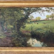 CHRLES F ROBINSON 1874- 1896 OIL ON CANVAS - MOTHER & DAUGHTER PICNICKING BY THE RIVER - SIGNED 45CM X 77CM - VERY NICE CONDITION - NO SIGNS OF RESTORATION