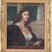 PRE-RAPHELITE OIL ON CANVAS - PORTRAIT OF A WOMAN -58CM  X 72CM - CONDITION - SEEMS TO HAVE BEEN EXTENDED - PAINTING LOOKS IN GOOD ORDER