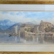 EDWARD WAKE HEREFORD - WATERCOLOUR ''ITALIAN LAKE SCENE WITH BOATS -34CM  X 70CM - VERY GOOD CONDITION - HAS ABBOTT & HOLDER GALLERY LABEL