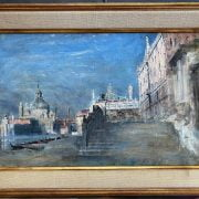 GEORGE SHERWOOD HUNTER 1846-1919 OIL ON CANVAS ''A VIEW FROM VENICE'' PROVENANCE FROM THE STUDIO SALE CHRISTIES 18-10-90 - 29CM X 43 - HAS BEEN RE-LINED