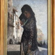 GEORGE SHERWOOD HUNTER 1846-1919 OIL ON CANVAS ''VENETIAN LADY WITH FAN DRESSED IN LACE'' PROVENANCE FROM THE STUDIO SALE AT CHRISTIES 18-10-90 HAS BEEN RE-LINED - 45CM X 63CM