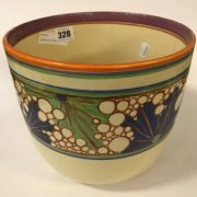 CLARICE CLIFF JARDINIERE - NO CHIPS, CRACK TO BASE - STILL FUNCTIONABLE