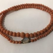 CORAL & MOONSTONE NECKLACE WITH GOLD CLASP