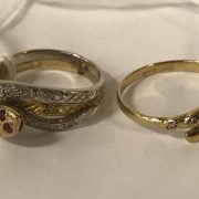 9CT & WHITE GOLD SNAKE RING WITH RUBY EYES & 1 OTHER 9CT GOLD SNAKE RING