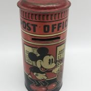 MICKEY MOUSE TIN MONEY BOX BY PERMISSION OF WALT DISNEY MICKEY MOUSE LTD HAPPYNAK SERIES MADE IN GB