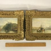 ATTRIBUTED TO JOSEPH MALLORD WILLIAM TURNER 1775- 1851 PAIR OF OILS ON BOARD OF CONTINENTAL TOWN & RIVER SCENES - 1 SIGNED & DATED - 14CM  X 20CM - EXCELLENT CONDITION , ORIGINALLY BEHIND GLASS HENCE CONDITION