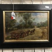 OIL ON BOARD - HAYMAKERS HORSE & CART BY HARRY PAYNE
