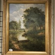 ATTRIBUTED TO HENRY H PARKER 1858-1930 OIL ON CANVAS ''ON THE RIVER WITH COTTAGES'' SIGNED & ON REVERSE 53CM X 69CM - ORIGINAL CONDITION -ORNATE GILT FRAME