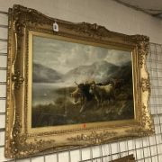 ROBERT WATSON 1865-1915 OIL ON CANVAS ''HIGHLAND CATTLE'' SIGNED & DATED 52CM X 75CM - HAS BEEN RE-LINED IN ORNATE GILT FRAME