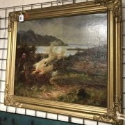 ATTRIBUTED TO COLIN HUNTER 1855-1924 OIL ON CANVAS - MOTHER & SON BURNING HEATHER -51CM X 61CM - EXCELLENT CONDITION - BEEN RE-LINED